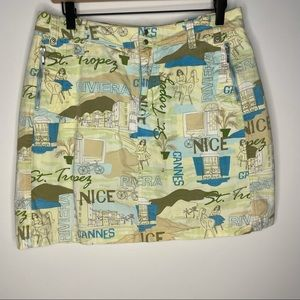 French Cuff Printed Multicolored Mid Rise Skort 8